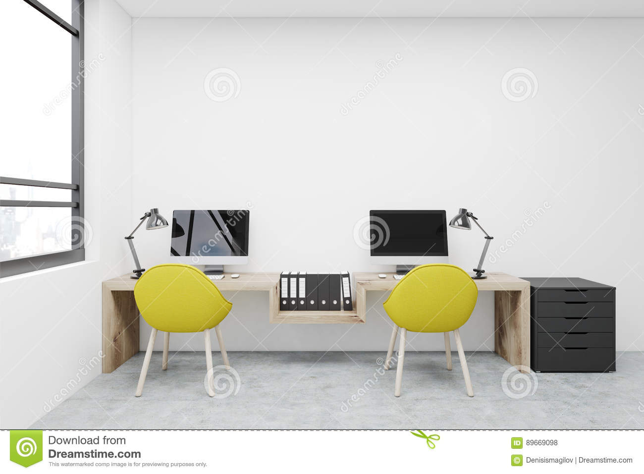 Workplace Two Yellow Chairs Computers Stock Illustration Image