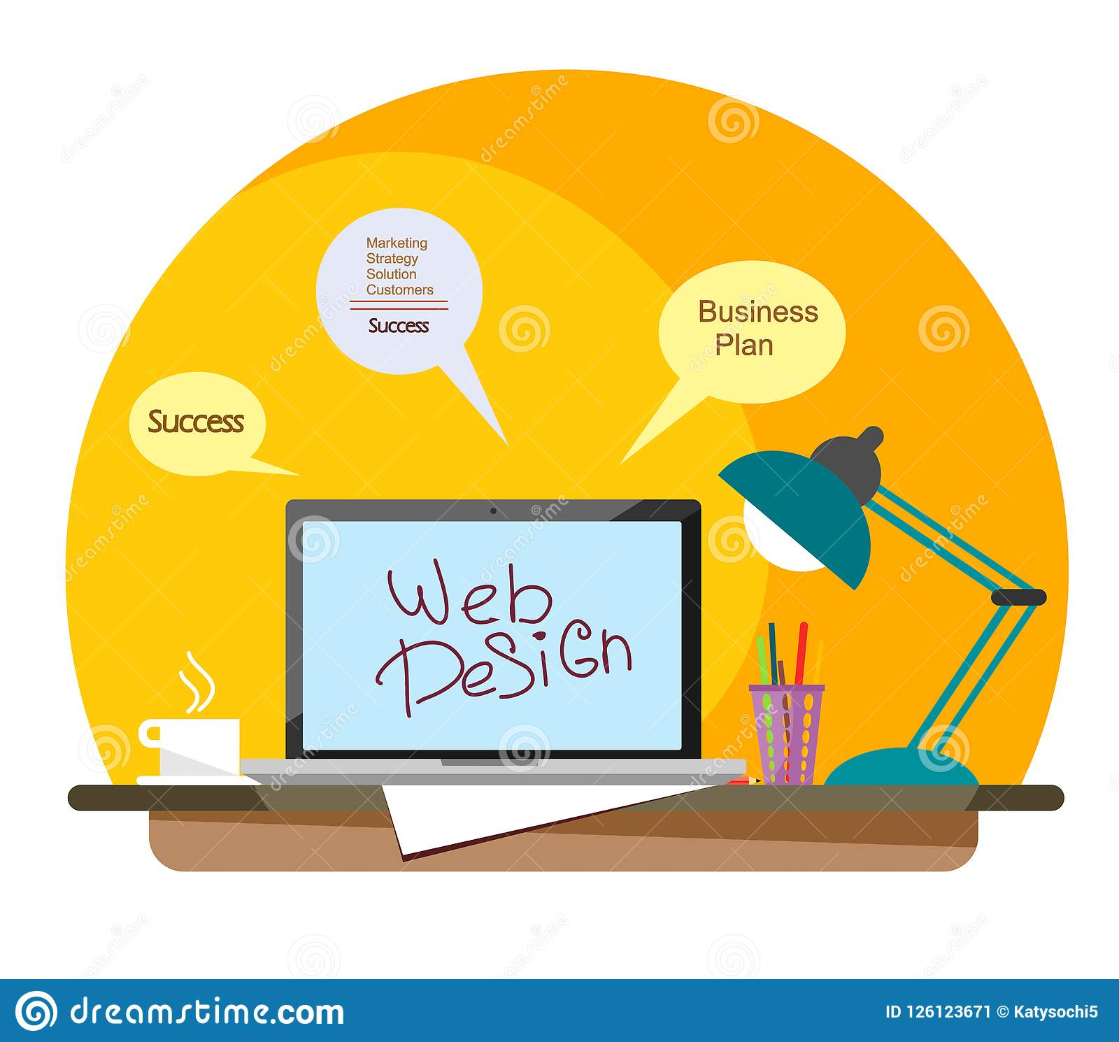 Workplace Of A Web Designer With A Laptop And A Mug Of Coffee In A Flat Style Stock Vector Illustration Of Sheet Style 126123671