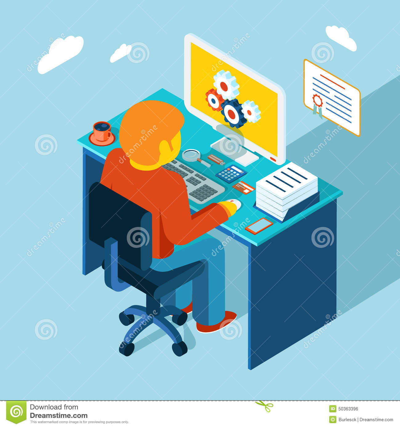 Workplace Working At Computer Flat 3d Isometric Stock