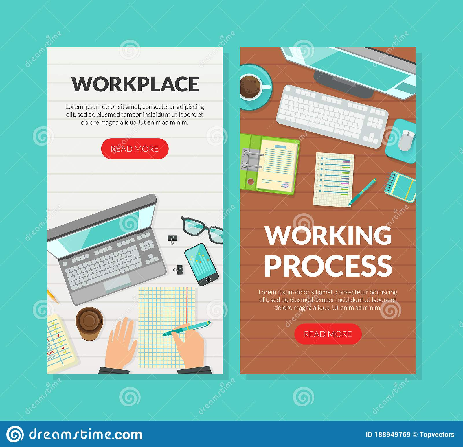 Workplace, Working Process Landing Page Templates Set, Top