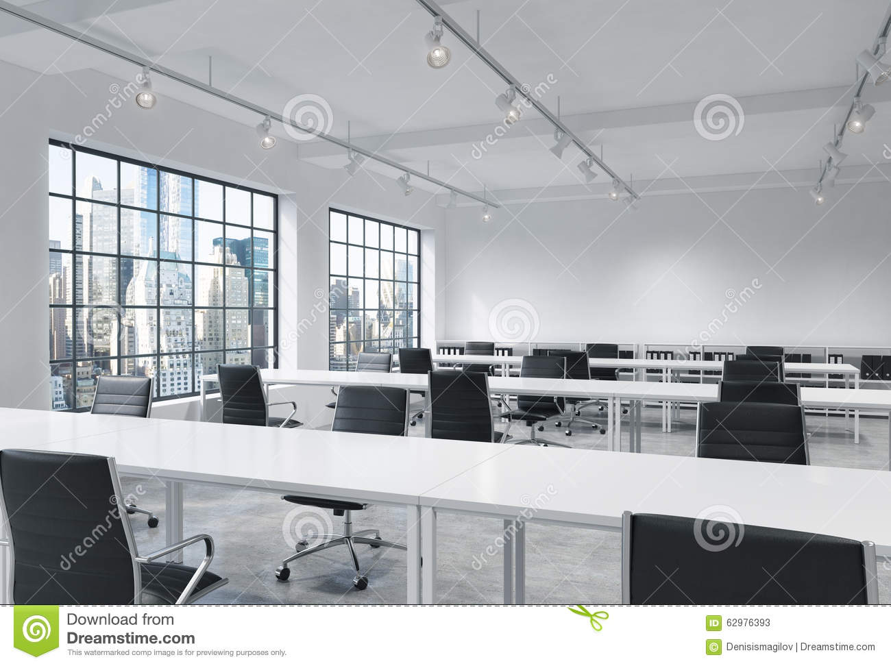 Workplaces in a bright modern loft open space office for Open space office