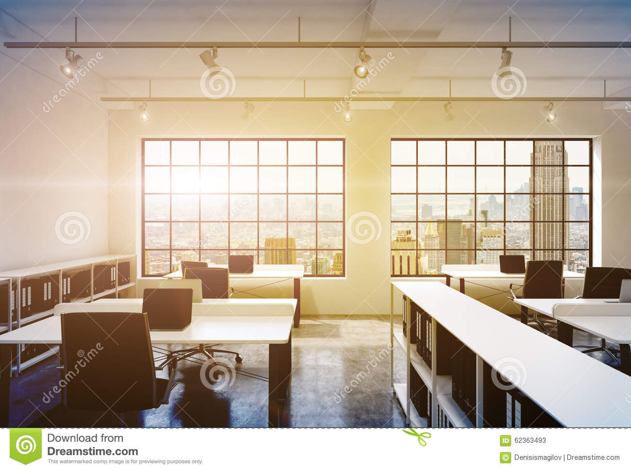 Workplaces In A Bright Modern Loft Open Space Office