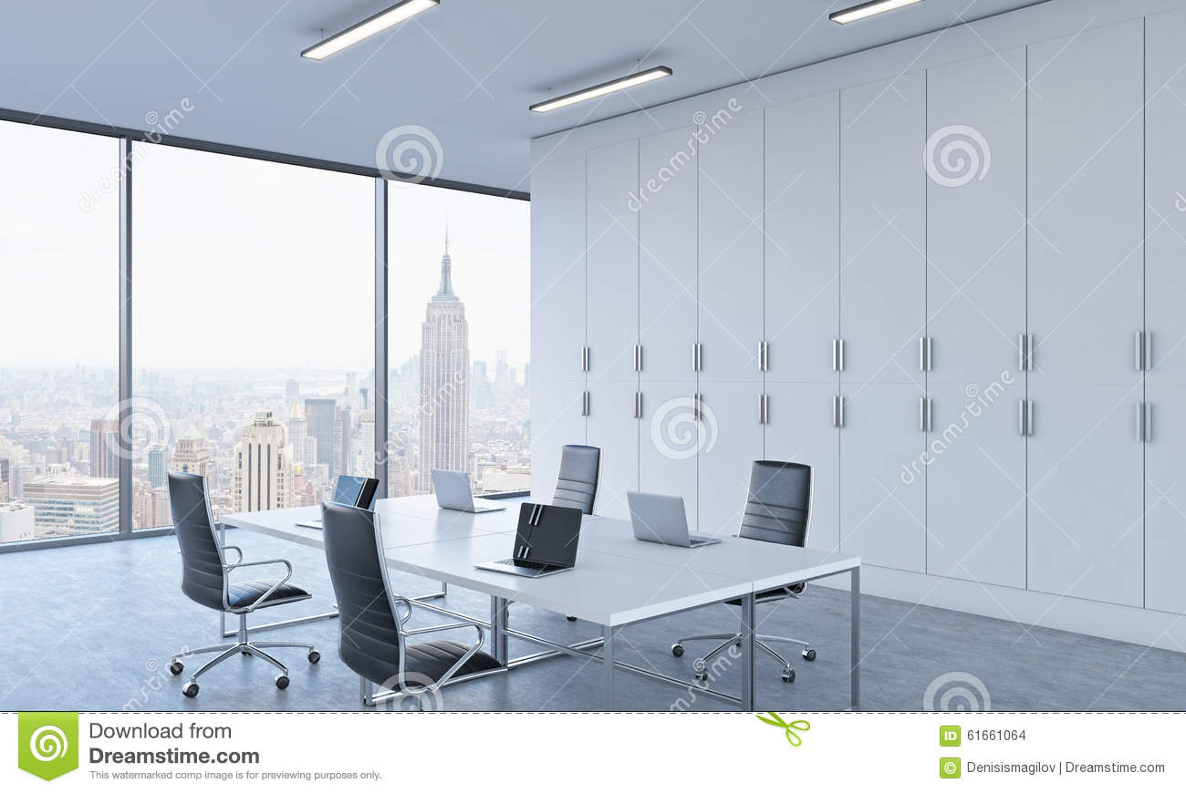Workplaces Or Conference Area In A Bright Modern Open