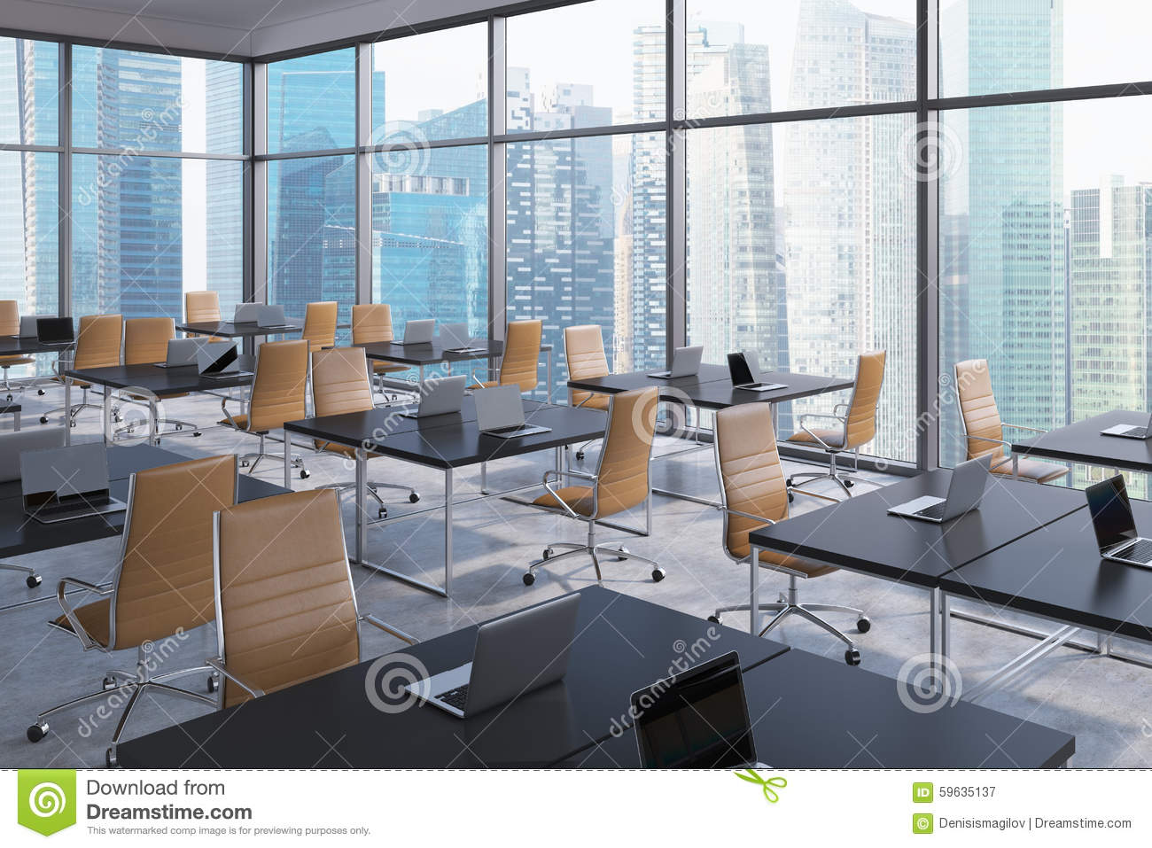 Workplaces in a modern corner panoramic office singapore for Interior design jobs singapore