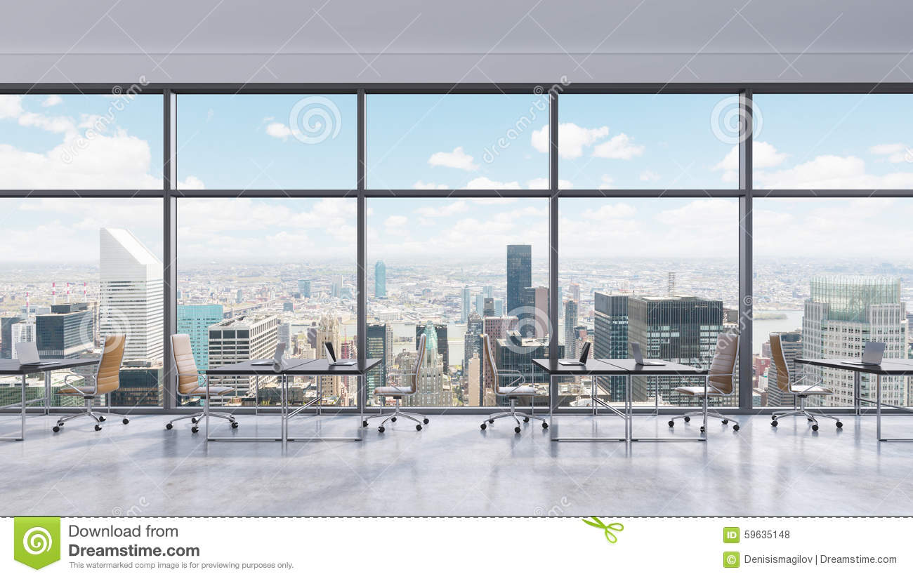 Workplaces In A Modern Panoramic Office, New York City View In The Windows, Manhattan. Open ...