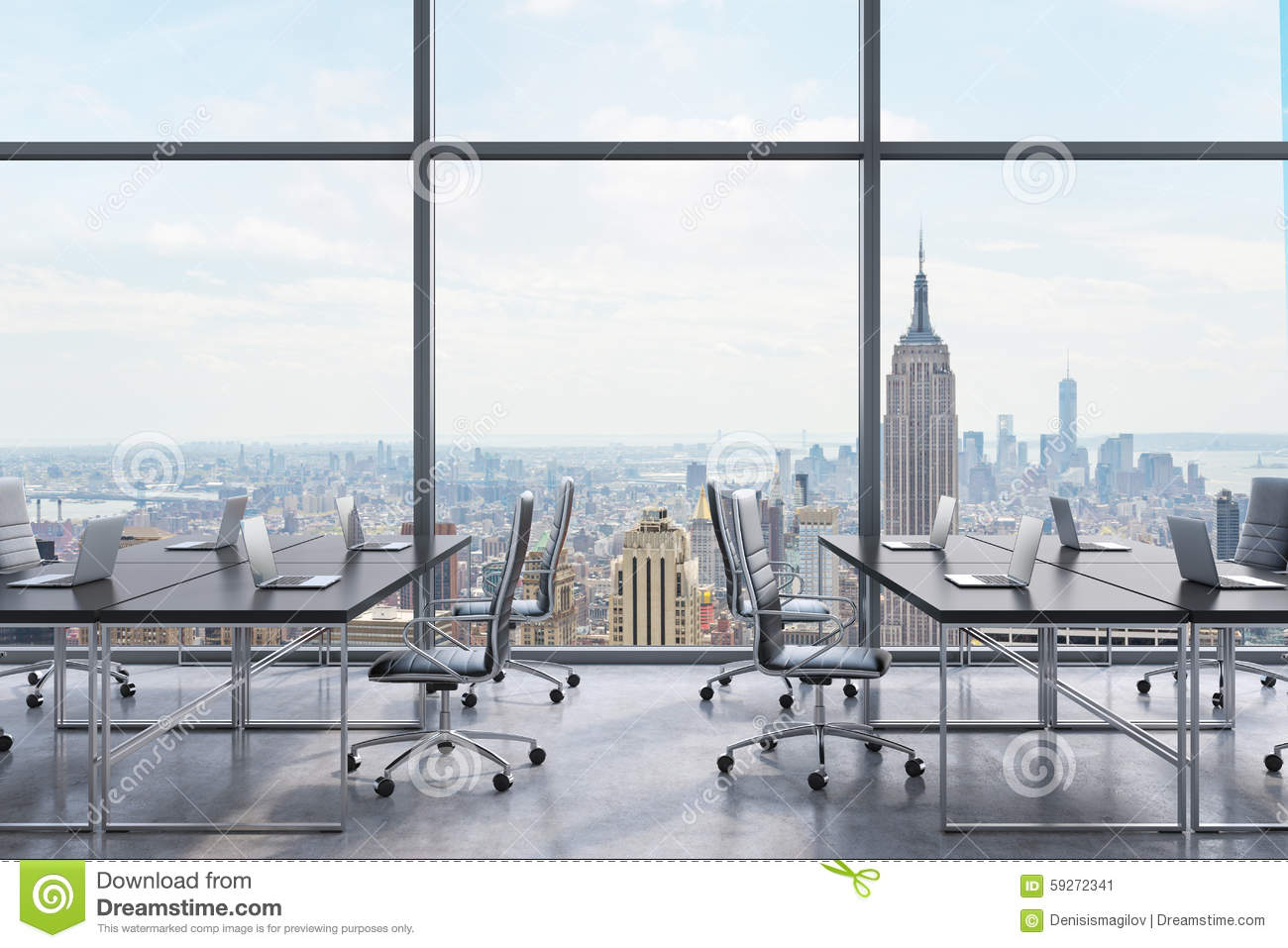 workplaces in a modern panoramic office new york city view from the windows open space black