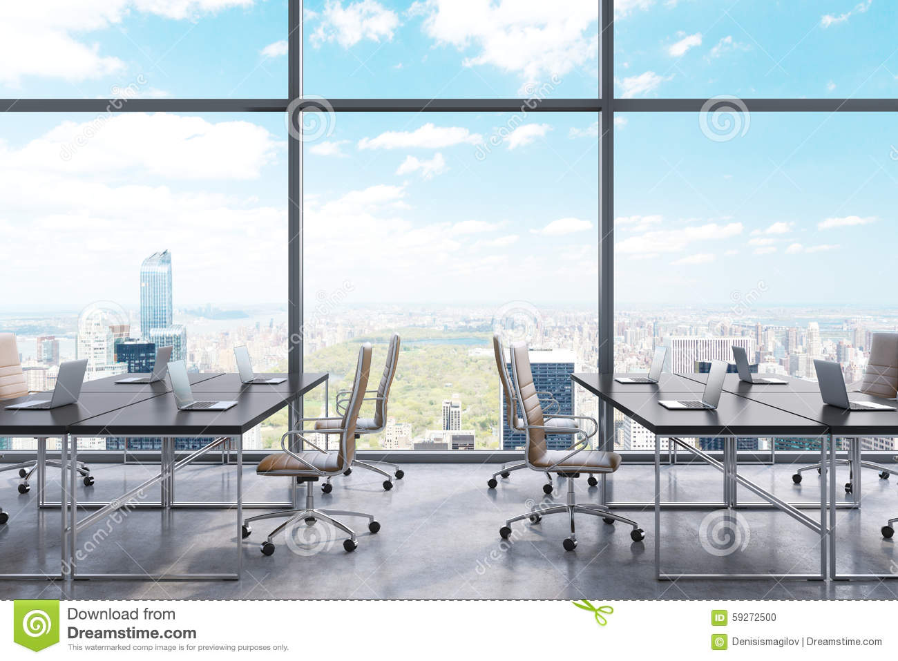 Workplaces in a modern panoramic office new york city for Bureau new york