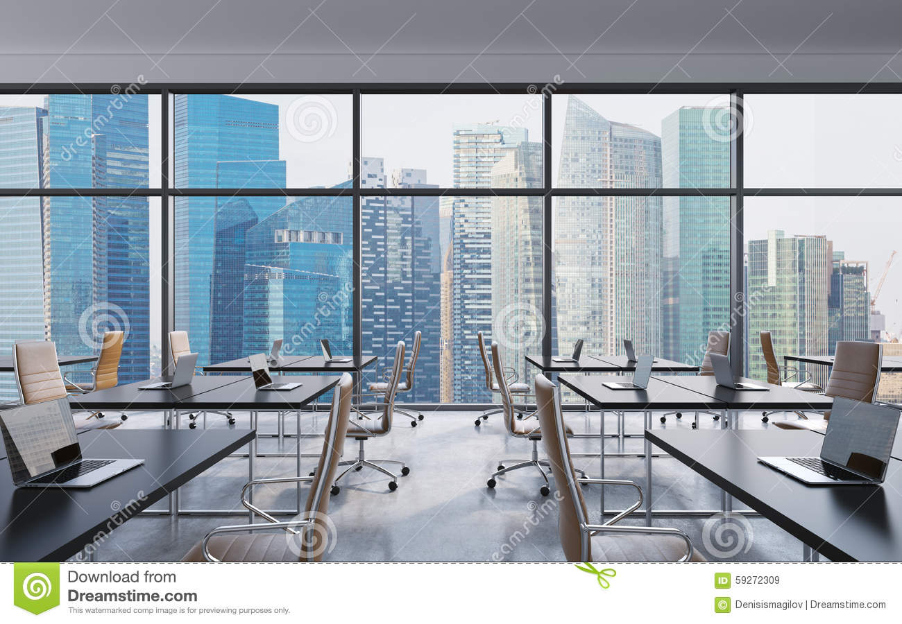 Workplaces In A Modern Panoramic Office Singapore City