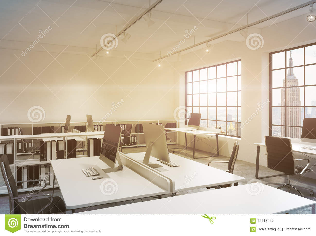 Workplaces In A Sunset Loft Open Space Office. Tables Are Equipped ...