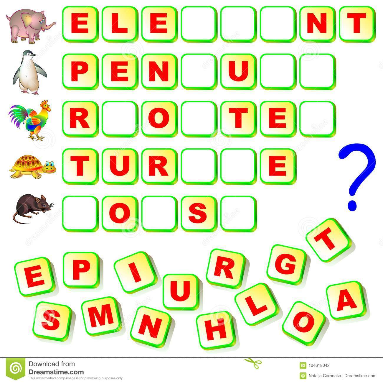 Worksheet For Children With Exercise For Study English Words. Find ...