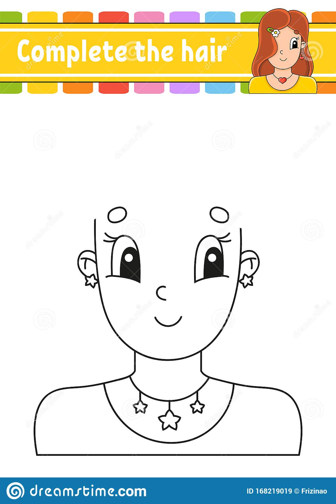 Worksheet Complete The Picture Draw Hair Cheerful Character