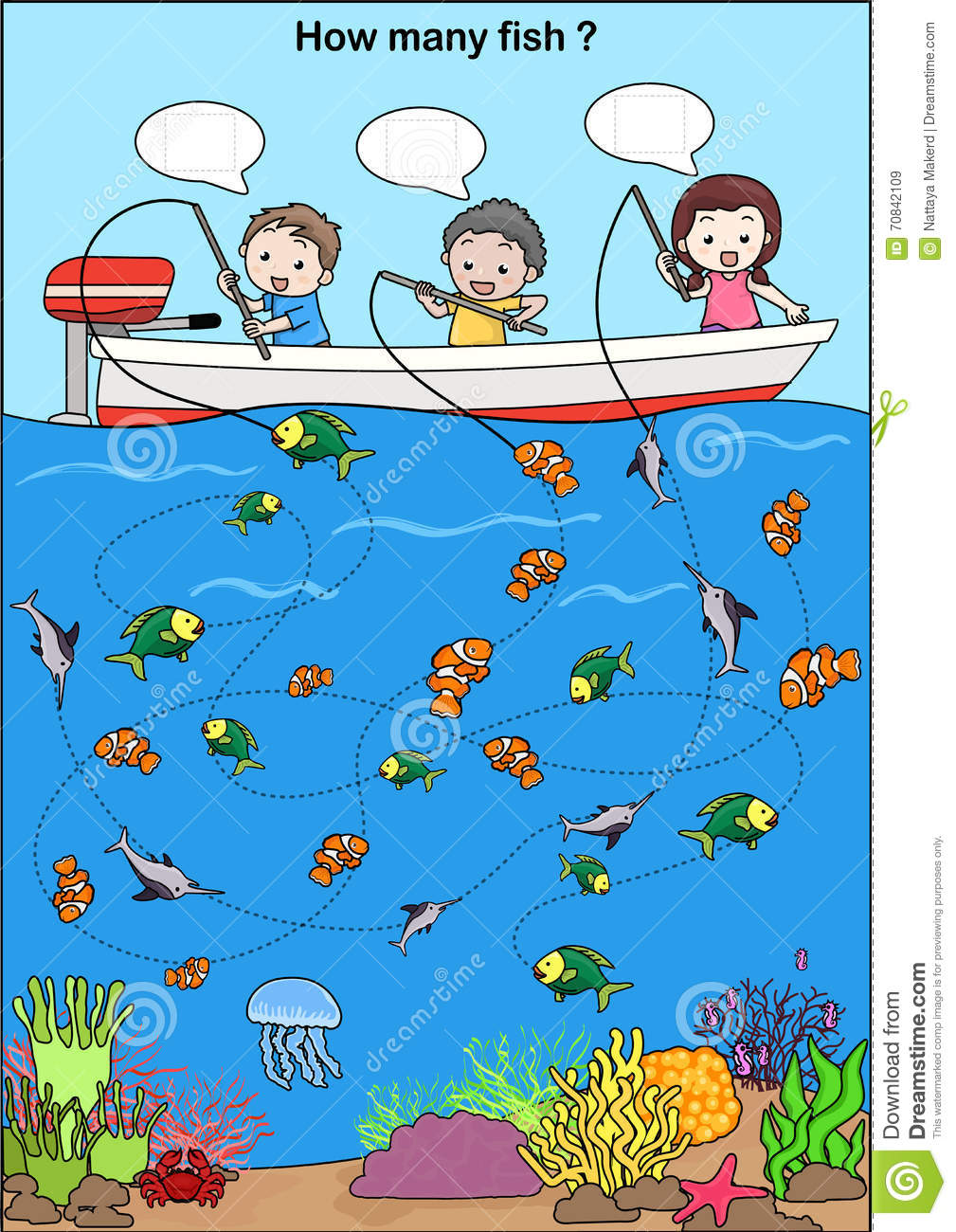 Worksheet For Education - Counting Fish Stock Vector - Illustration ...