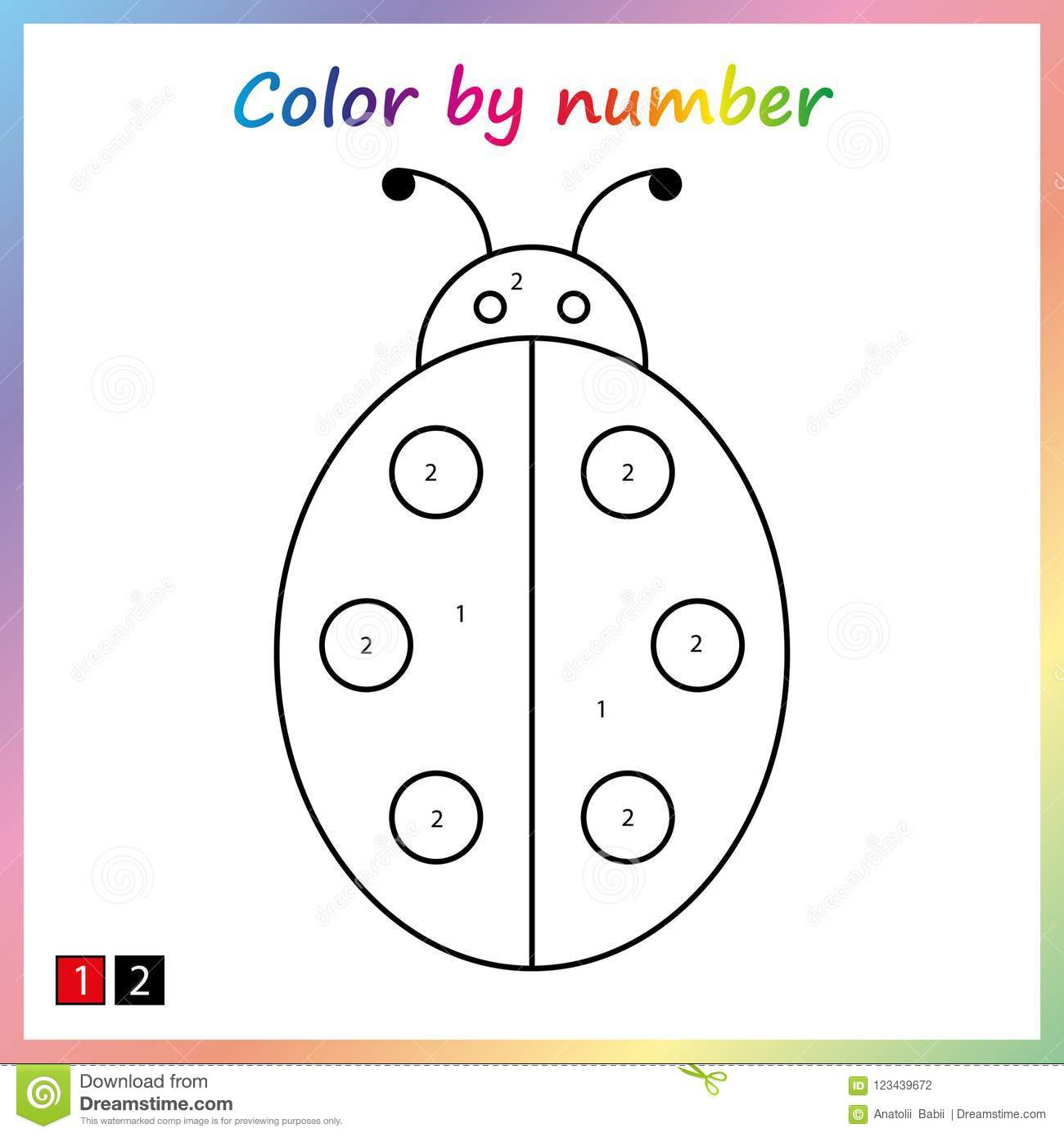 worksheet for education painting page color by numbers game for preschool kids stock vector. Black Bedroom Furniture Sets. Home Design Ideas