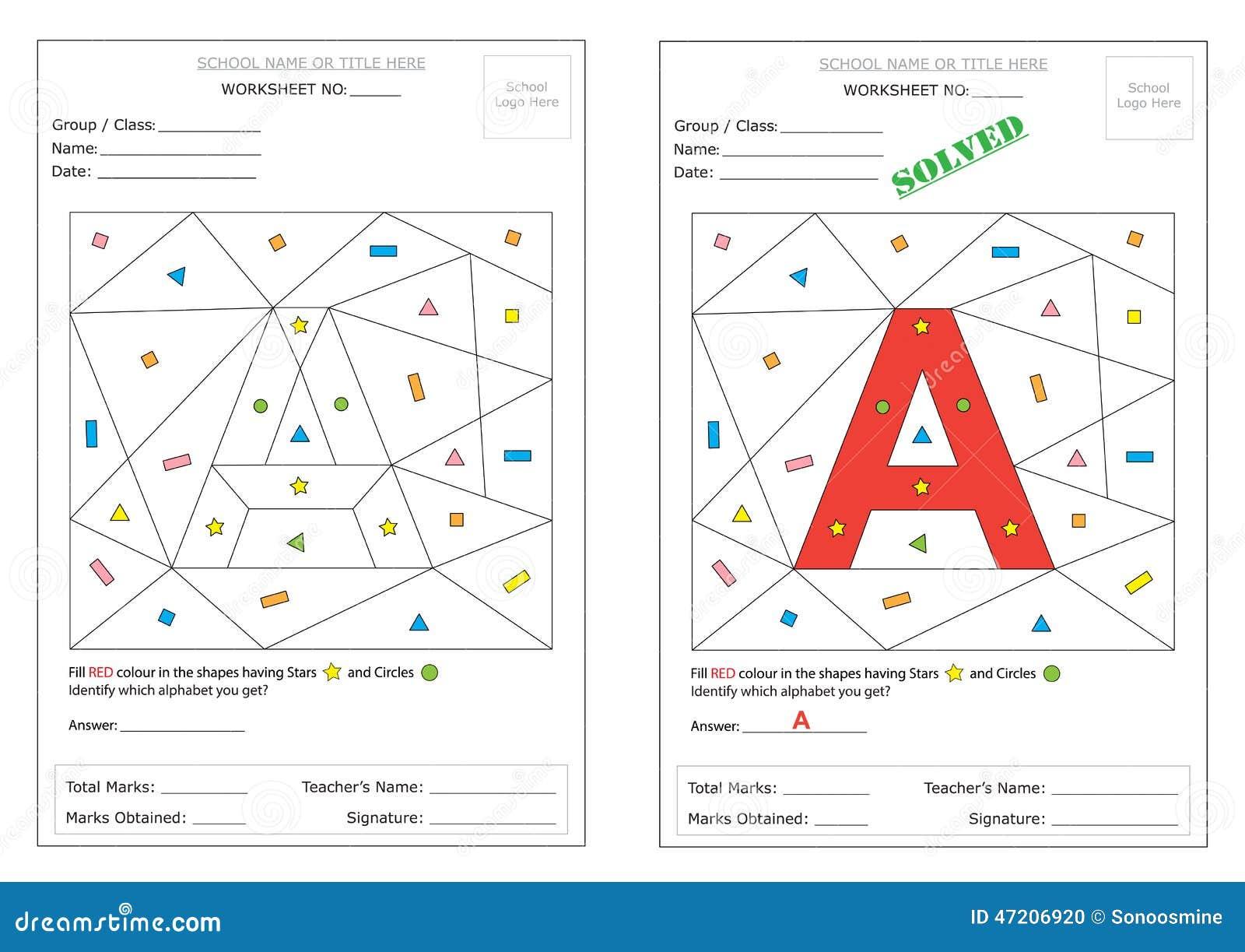 Worksheet - Identify Alphabet Stock Vector - Image: 47206920