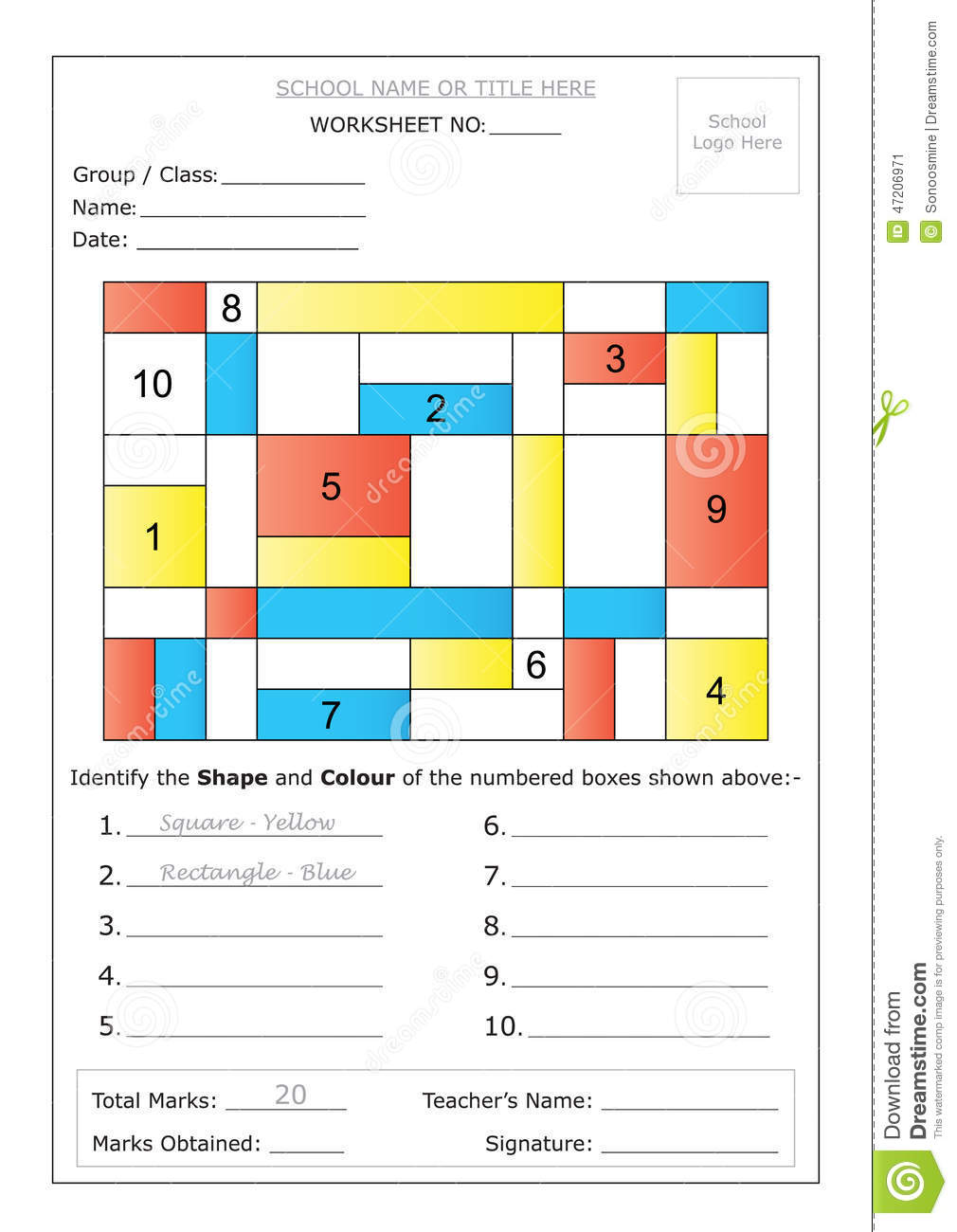 Free Worksheets square and rectangle worksheet : Worksheet - Identify Shape u0026 Colour Stock Vector - Image ...