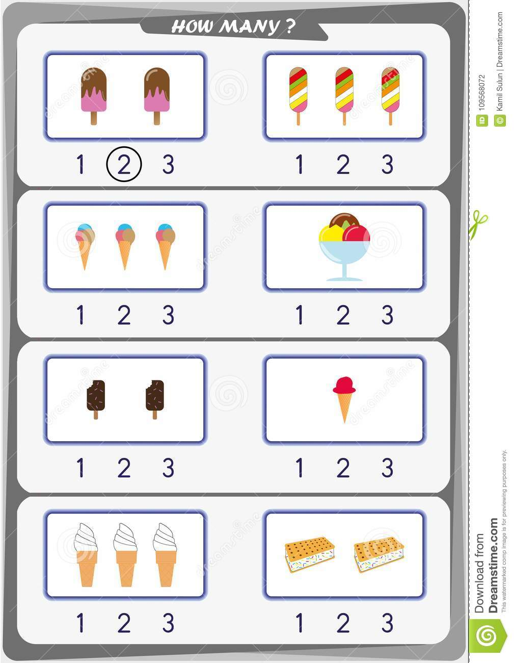 Worksheet For Kids, Count The Number Of Objects, Learn The Numbers 1 ...