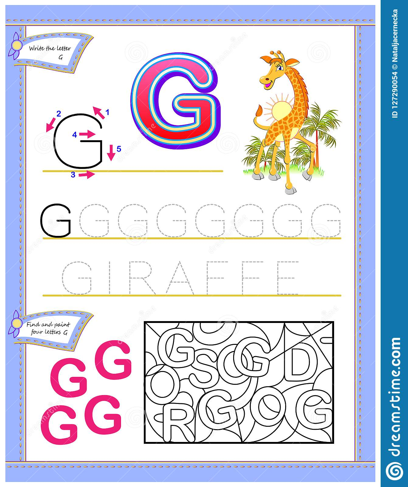 Worksheet For Kids With Letter G For Study English Alphabet Logic Puzzle Game Developing Children Skills For Writing And Reading Stock Vector Illustration Of Letter Language 127290054 - 19+ Writing Letter G Worksheets For Kindergarten Images