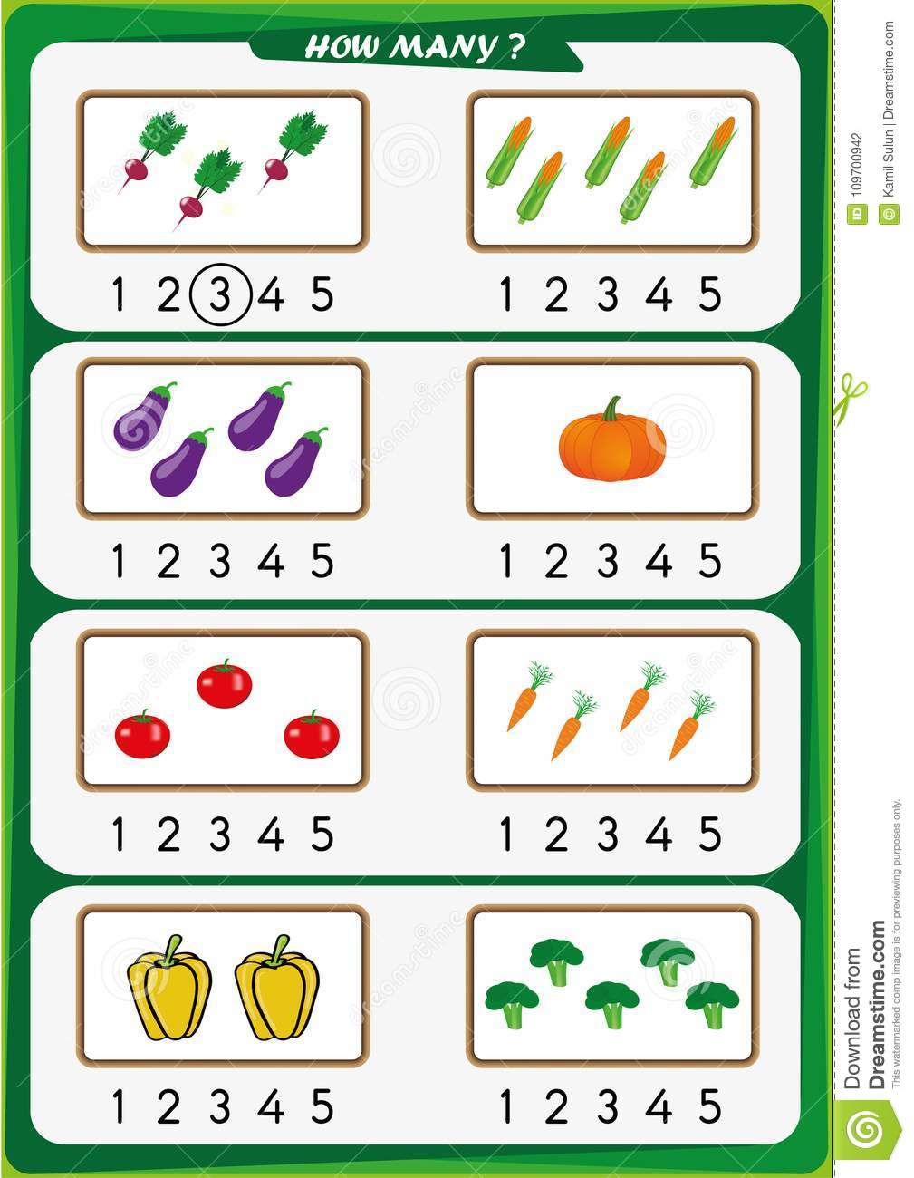 Worksheet For Kindergarten Kids, Count The Number Of ...