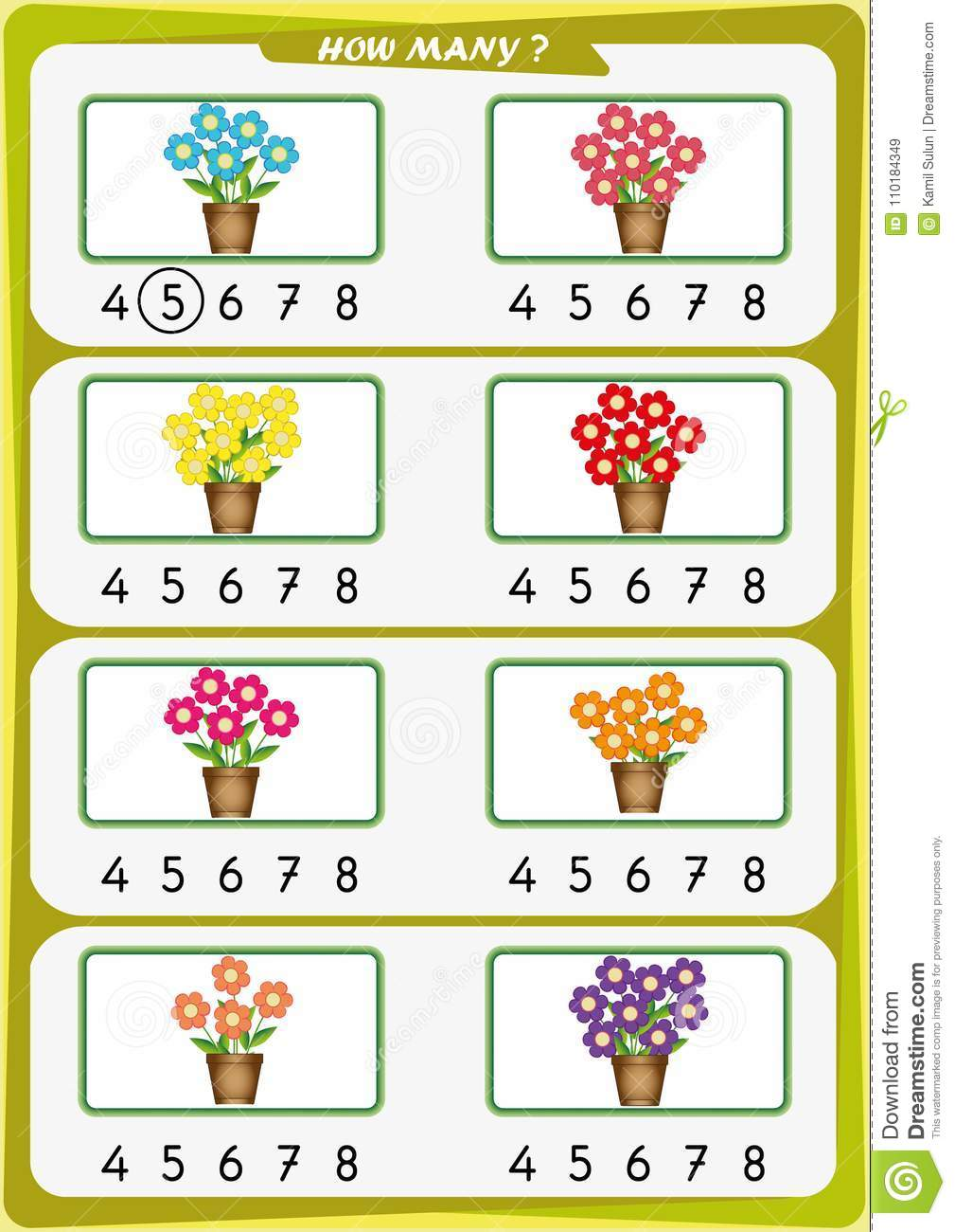 Worksheet For Kindergarten Kids, Count The Number Of Objects ...