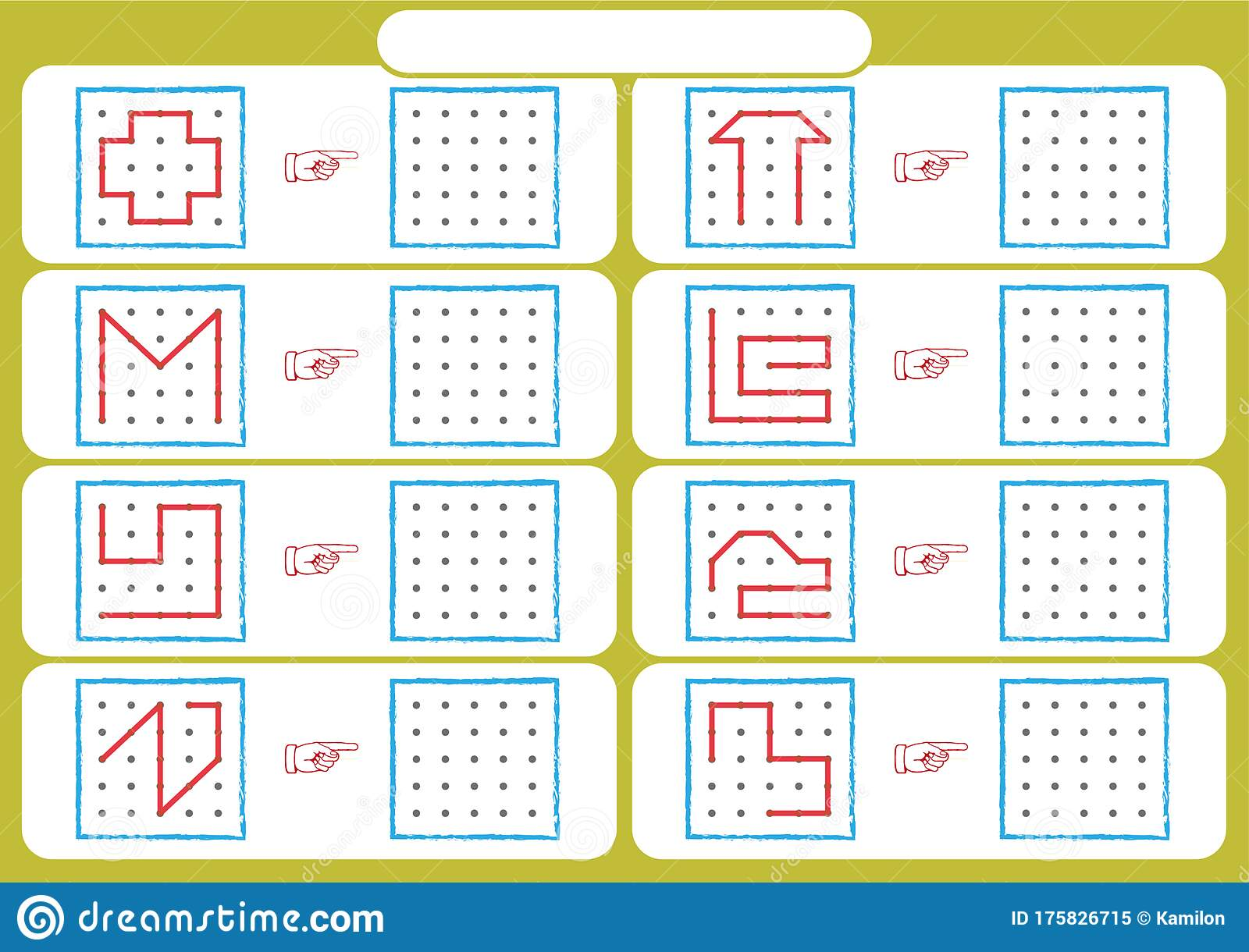 Worksheet For Preschool Kids Dot To Dot Copy Practice Copy The Shapes Visual Perception Activities Stock Vector Illustration Of Child Activities 175826715