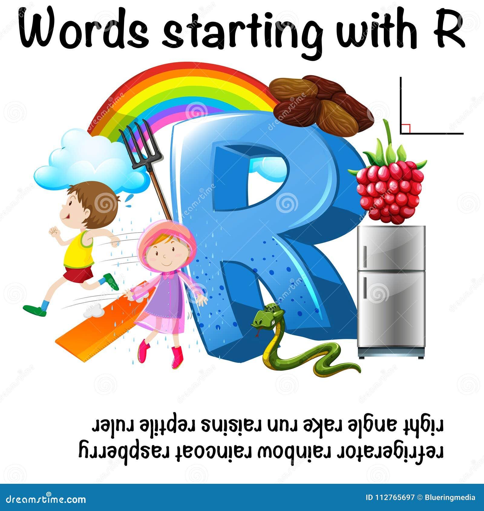 Worksheet projekt dla słów zaczyna z R
