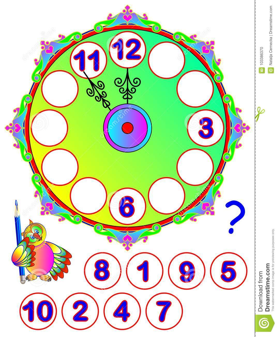 Worksheet For Young Children. Repair The Clock. Find The Missing ...