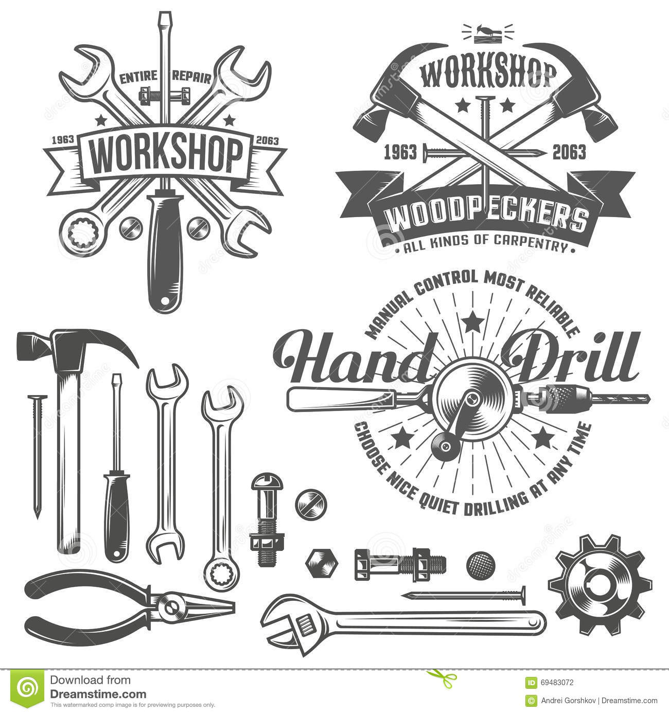 workshop logo stock vector  image of shop  stamp  pliers