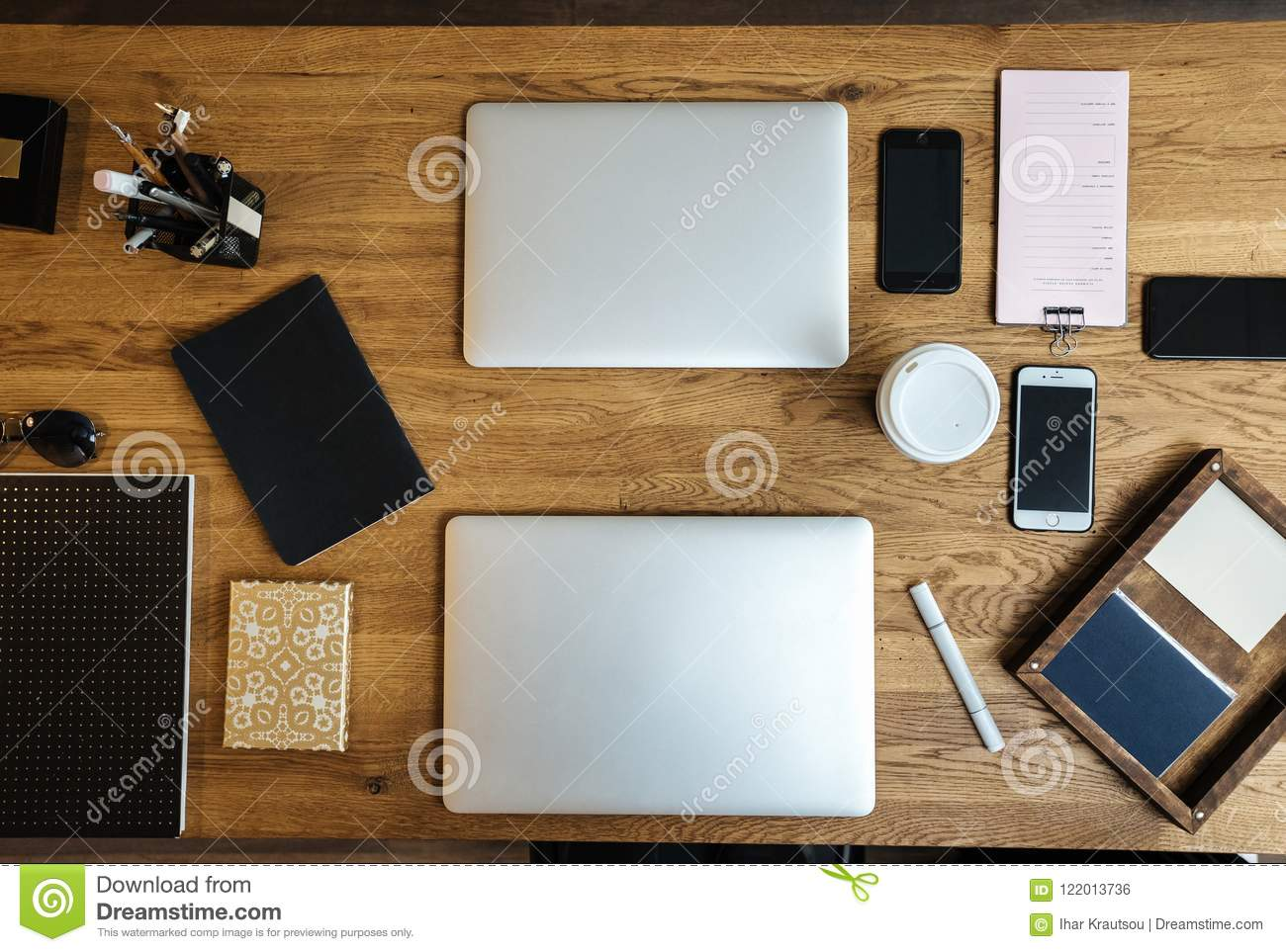 Workspace In Aerial View With Laptop Desk Stock Photo Image Of