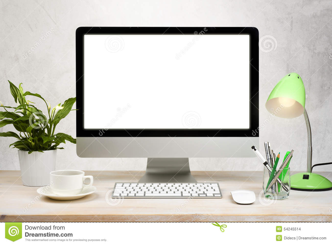 Workspace background with desktop pc and office accessories on table