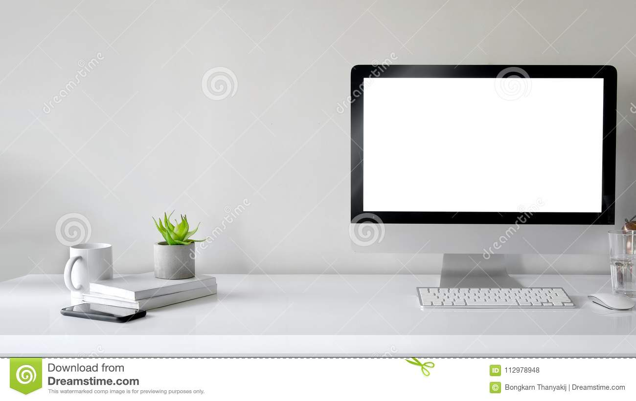 Workspace With Computer With Blank White Screen Stock Photo - Image ...