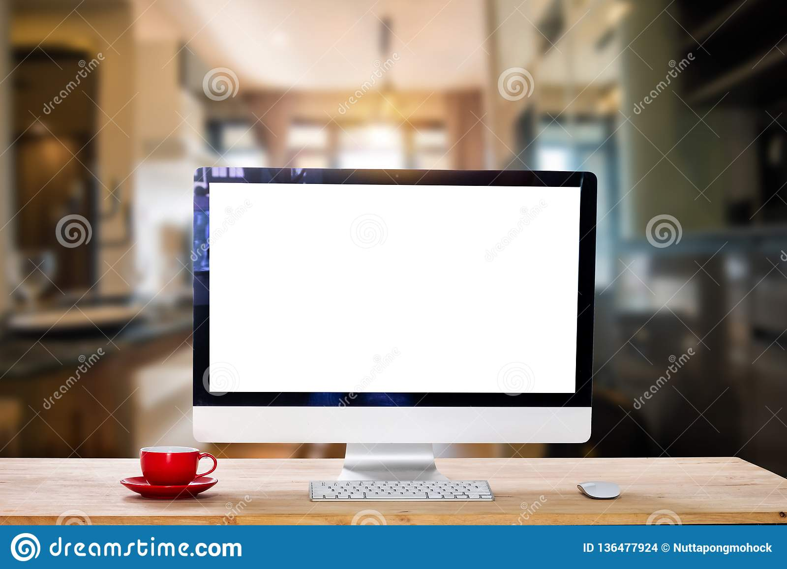 Computer Monitor, Keyboard, Coffee Cup Stock Photo   Image of ...