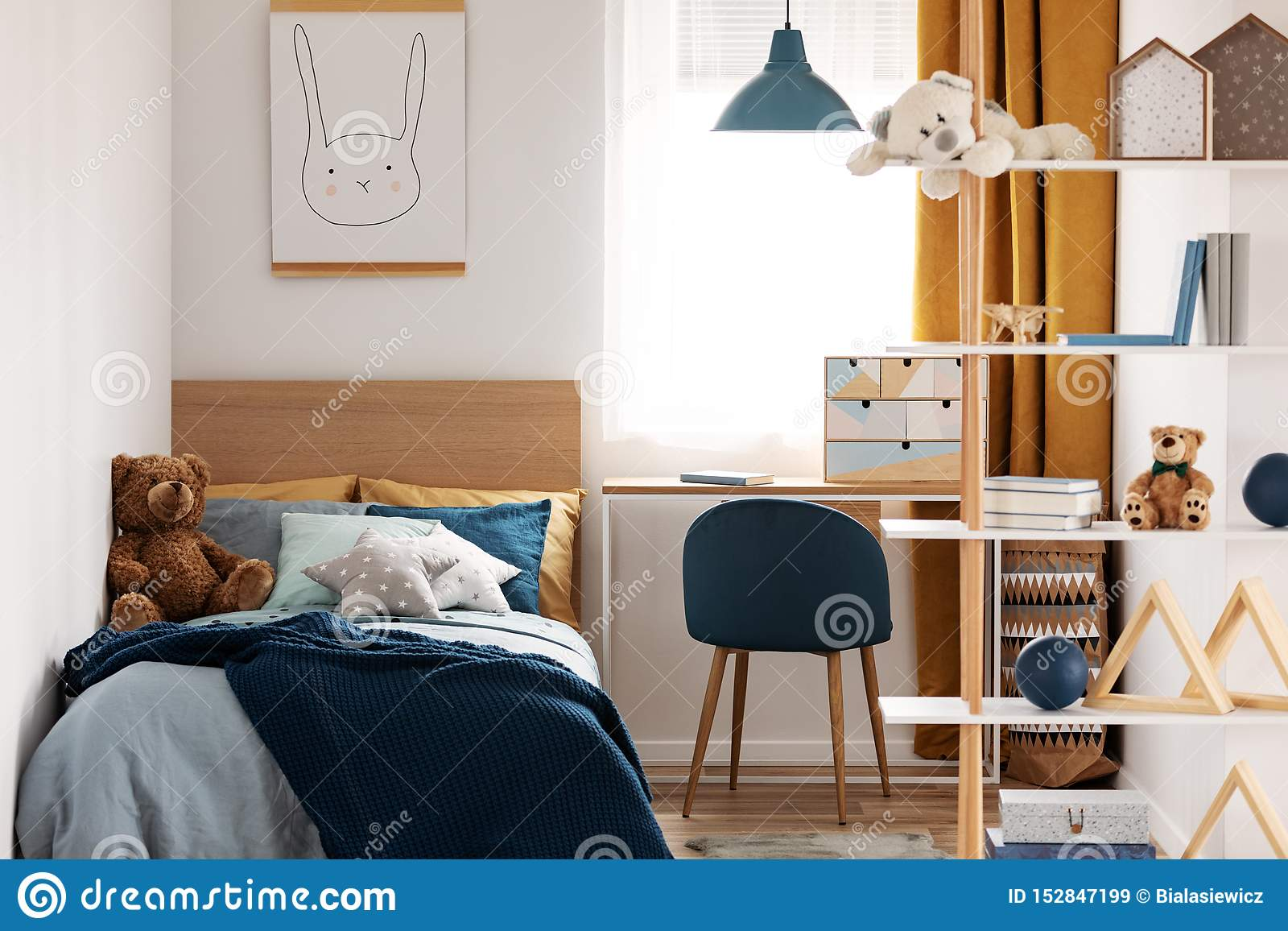 Bright Bedroom Interior With Single Bed With Turquoise ...
