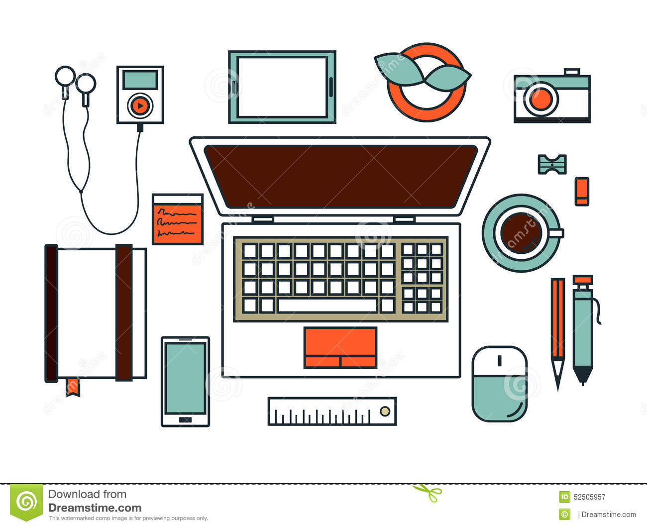 Workspace flat design vector stock vector image 52505957 for Office design vector