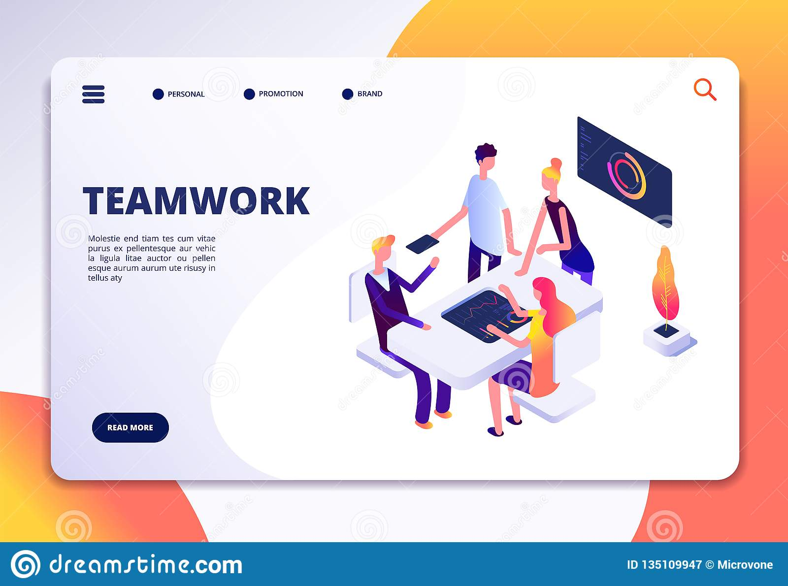 Workspace isometric landing page. People team work in office. Partnership, business process persons working together