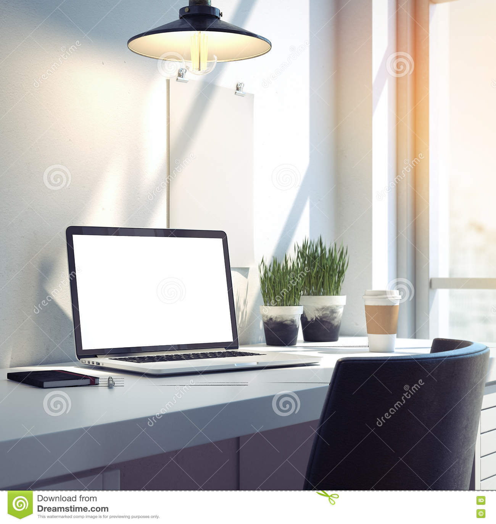 Workspace med den moderna bärbara datorn för silver framförande 3d