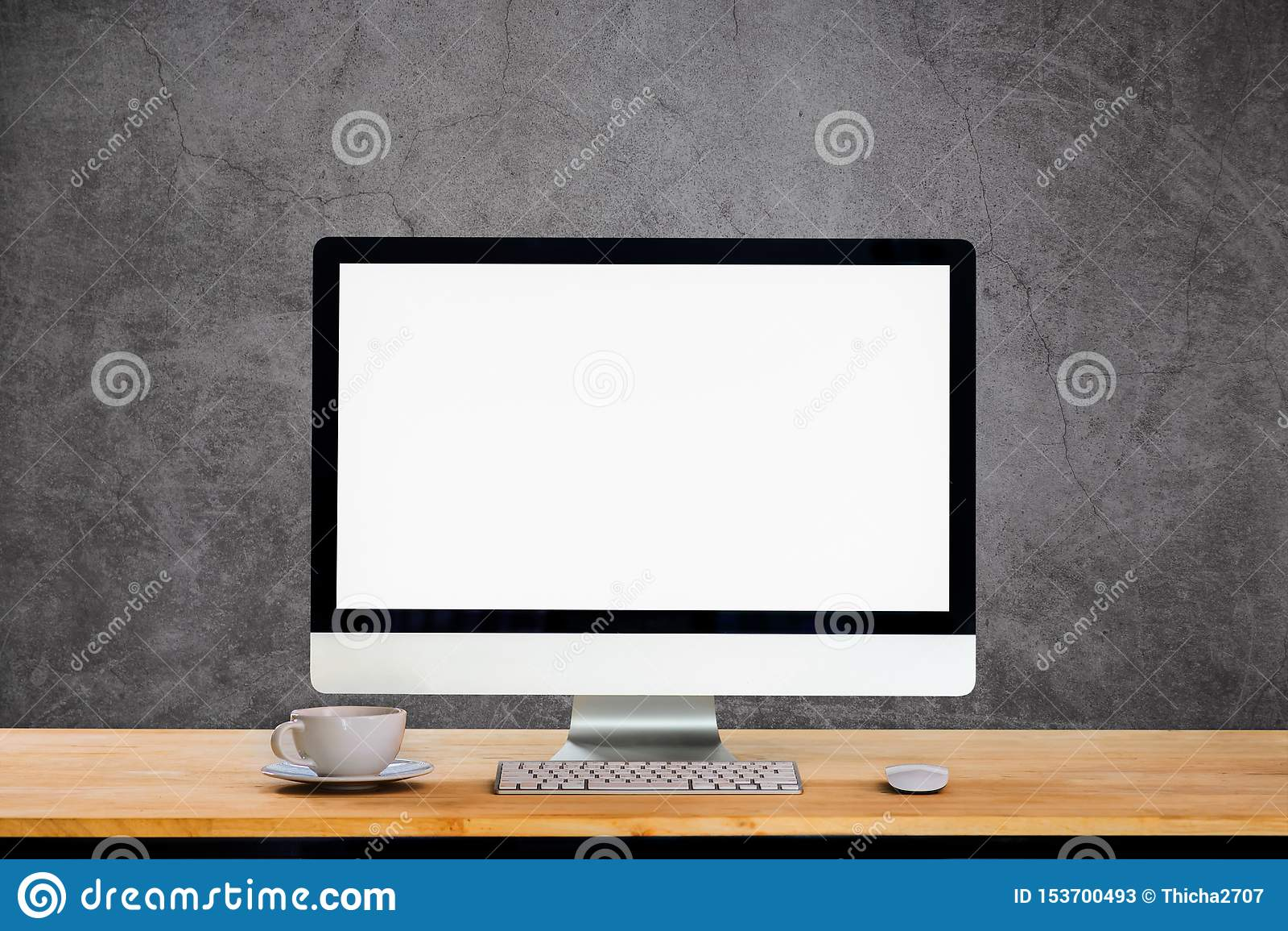 Workspace med den skrivbords- datoren