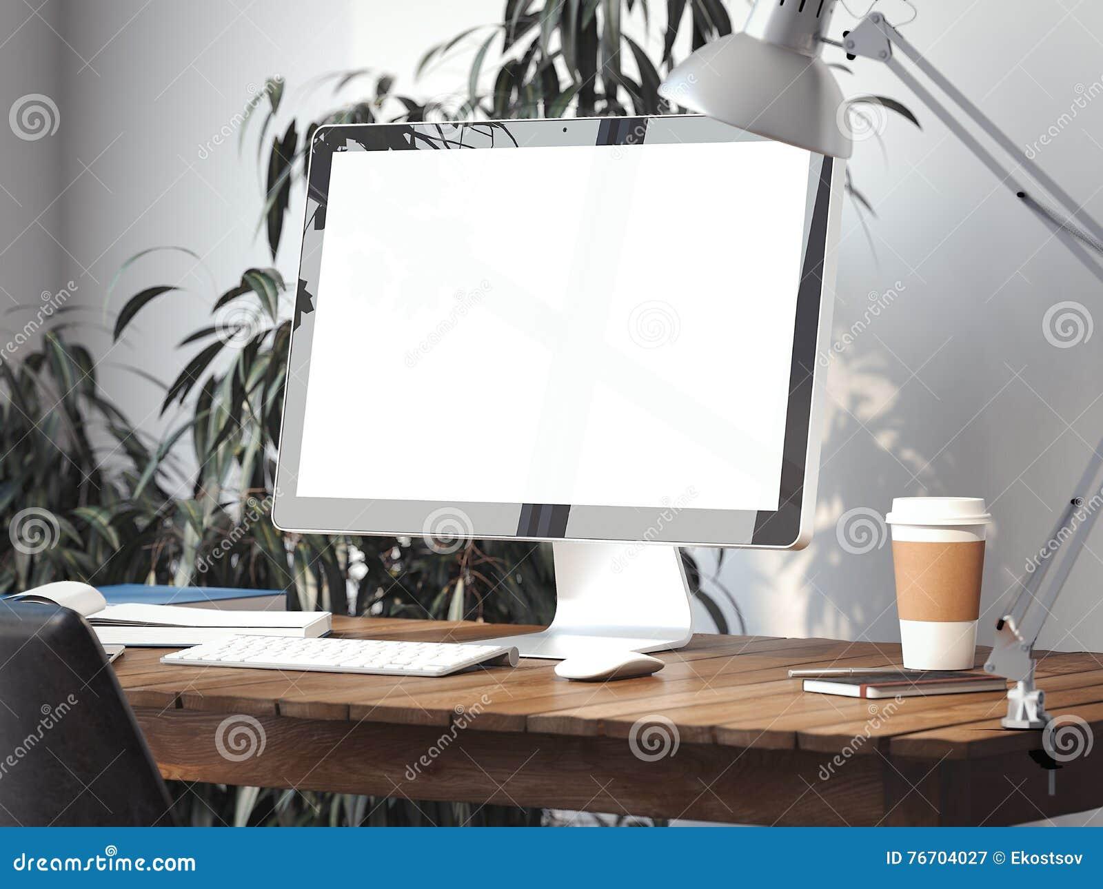 Workspace med den tomma bildskärmskärmen framförande 3d
