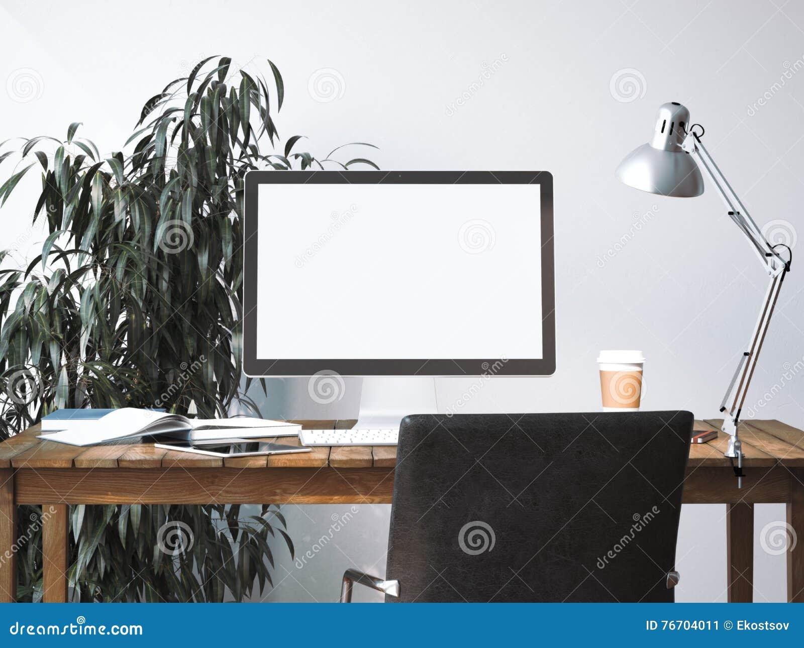 Workspace med den tomma skärmen framförande 3d