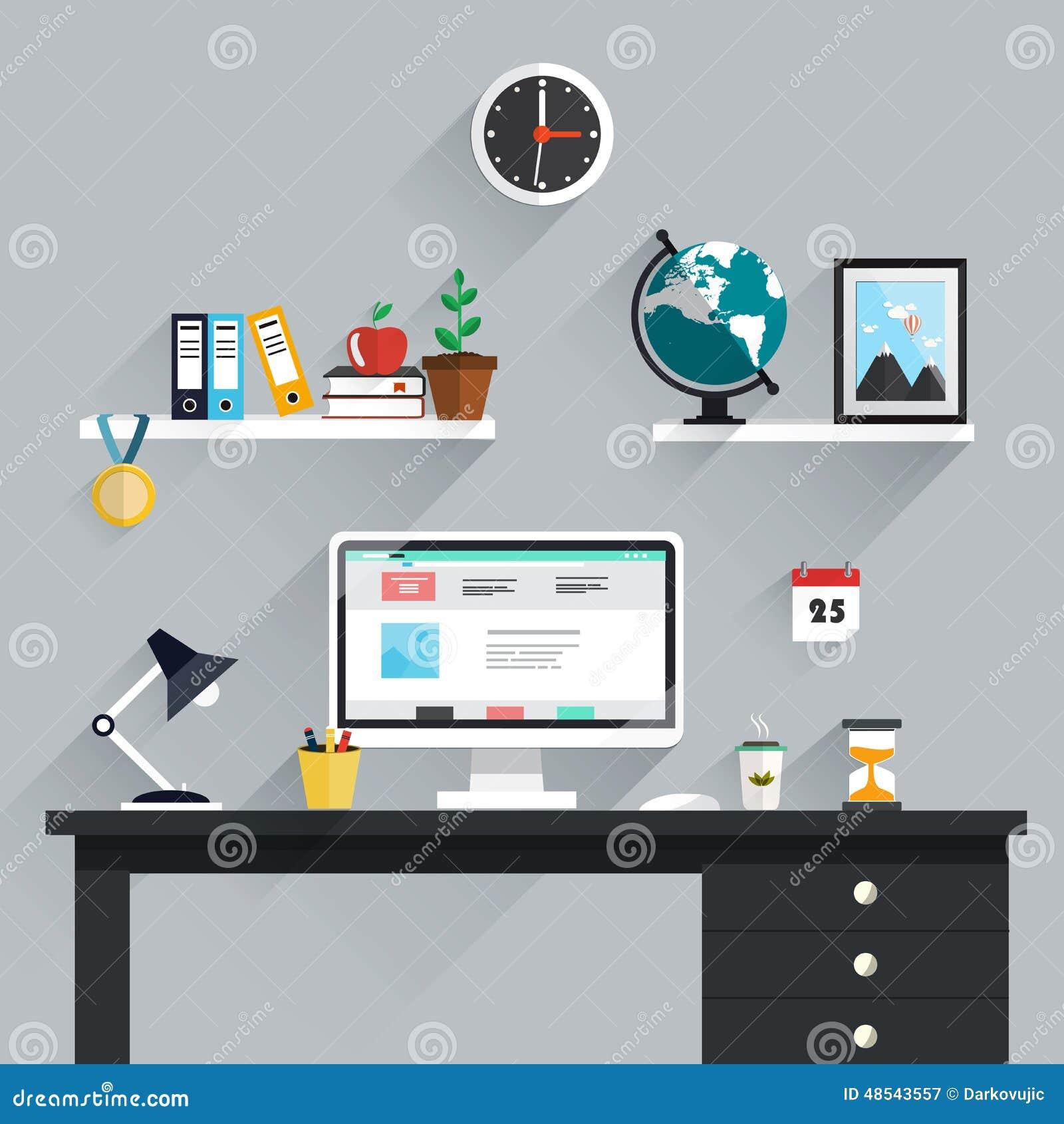 Workspace, miejsce pracy ikony i elementy w minimalistic stylu,