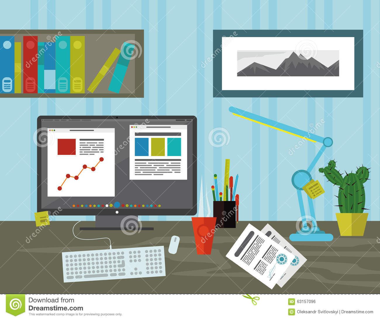 Workspace in the office stock vector image 63157096 for Interior design application for pc