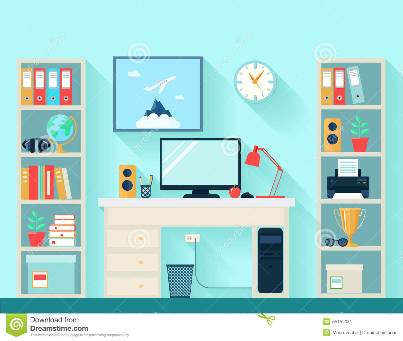 Workspace In Room With Computer Table And Bookshelves On Blue Wallpaper Background Flat Vector Illustration
