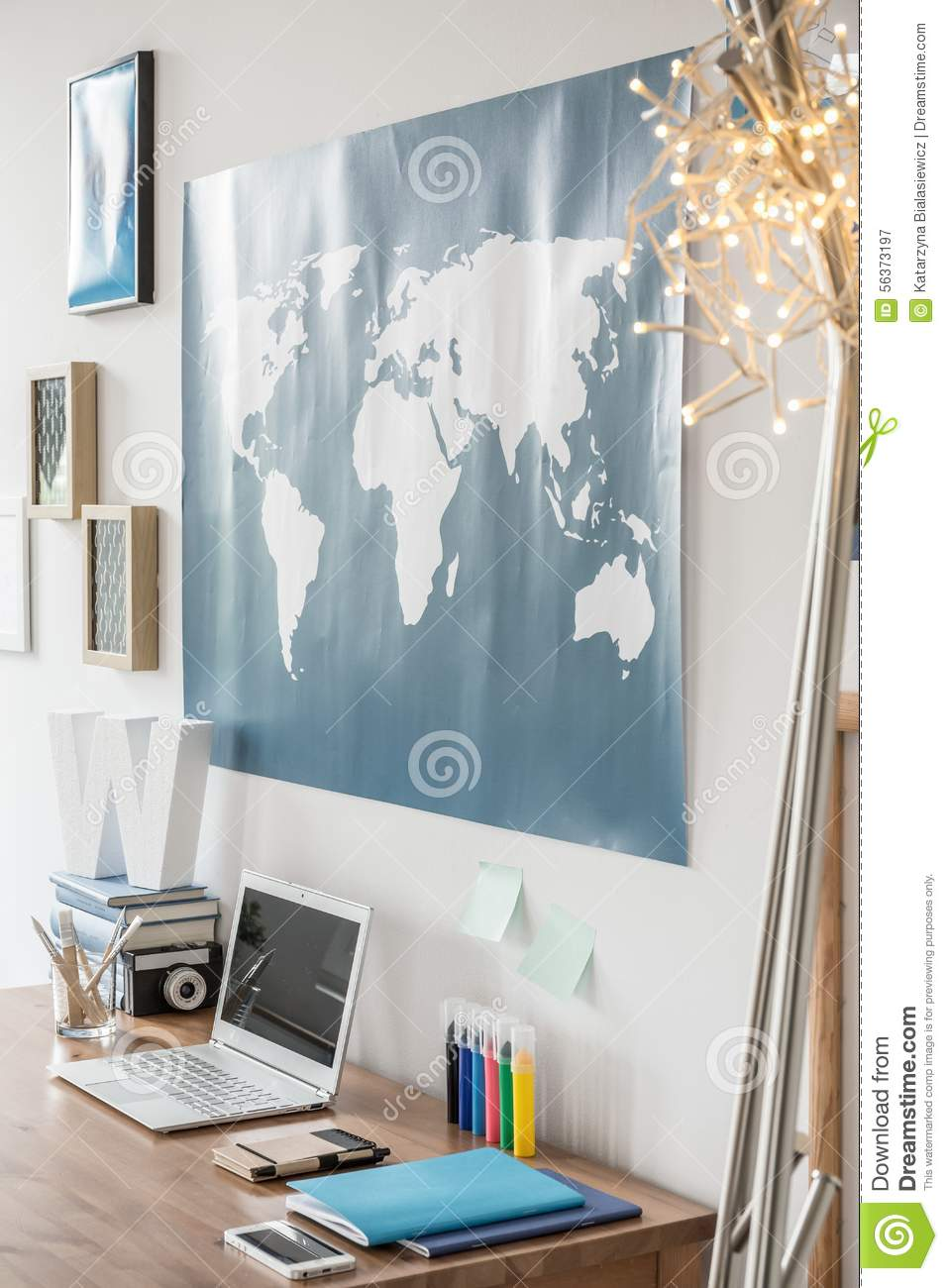 Workspace with world map stock image image of house 56373197 workspace with world map above the desk gumiabroncs Images