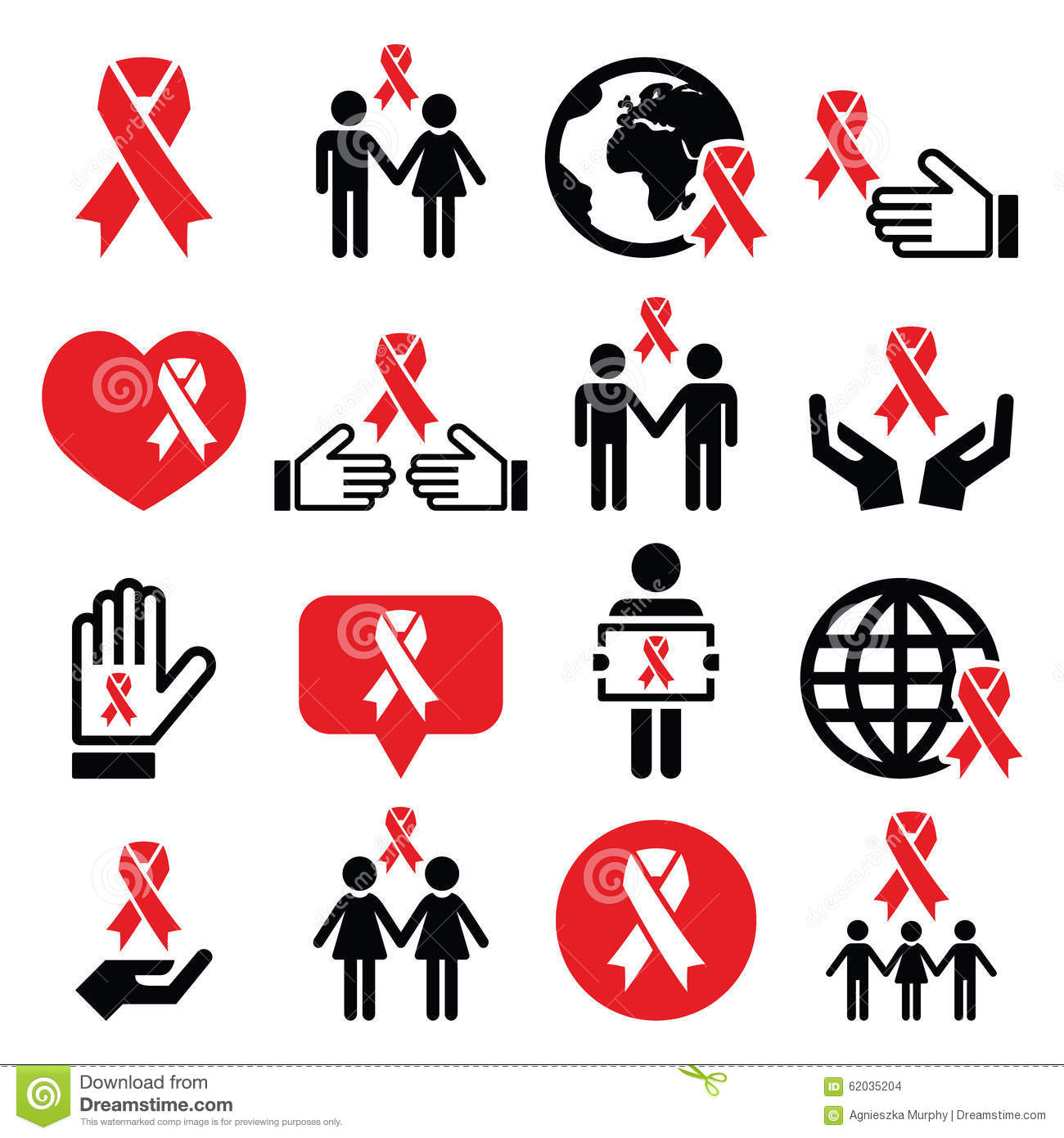 World aids day icons set red ribbon symbol stock vector world aids day icons set red ribbon symbol buycottarizona Image collections