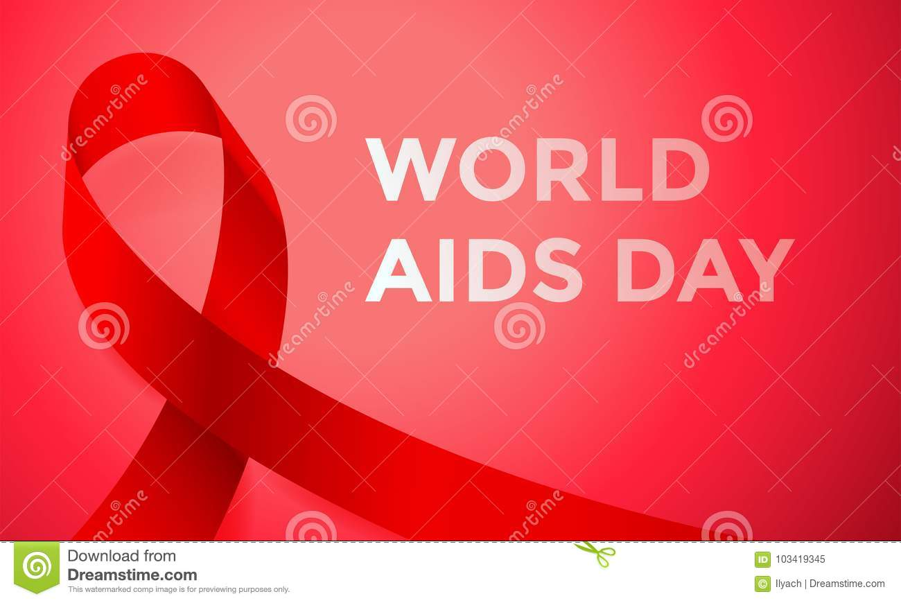 World AIDS day red ribbon poster or banner for 1 December awareness world day. Vector HIV and AIDS ribbon logo symbol or emblem ba