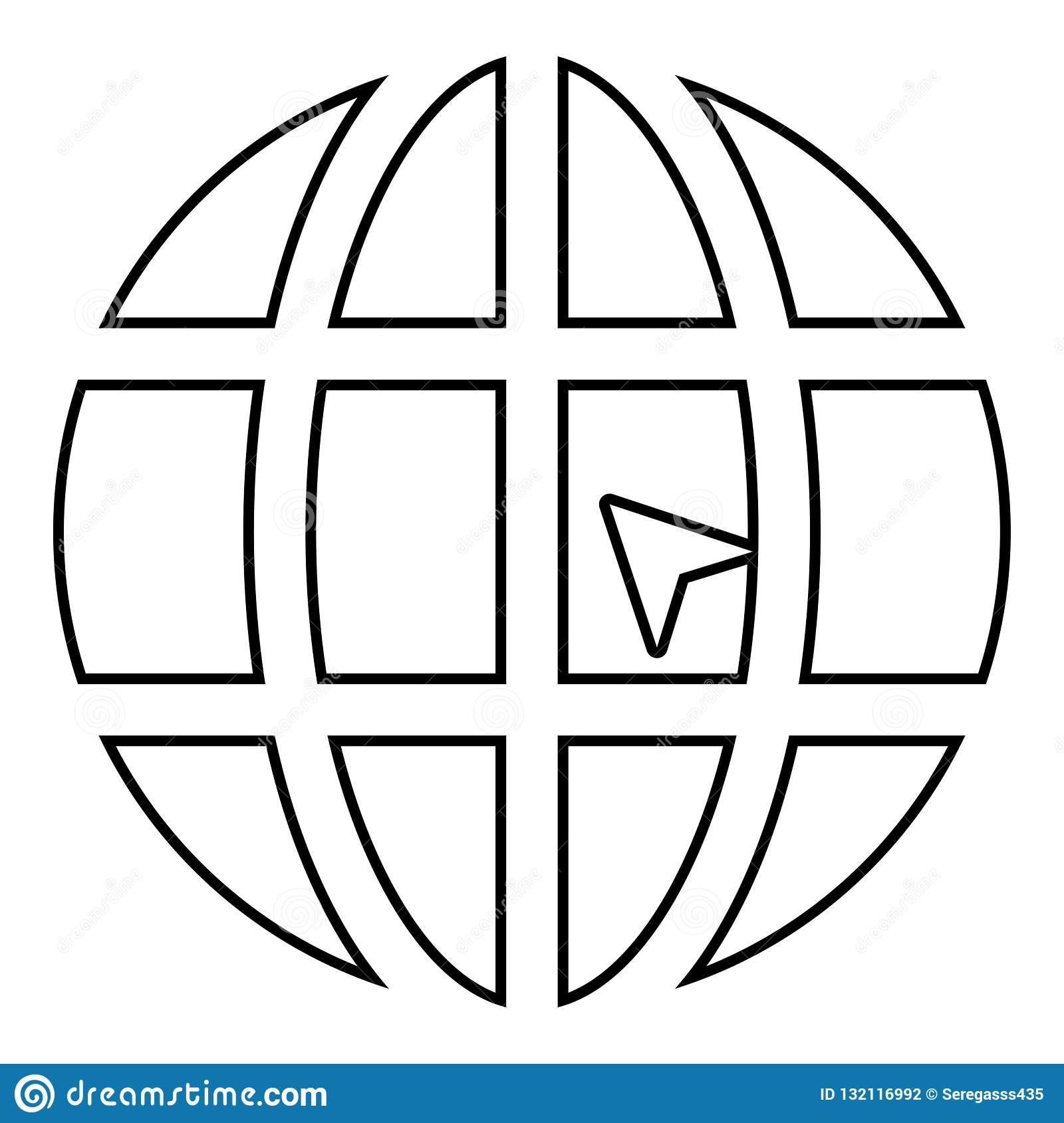 World with arrow world click concept website icon black color illustration outline