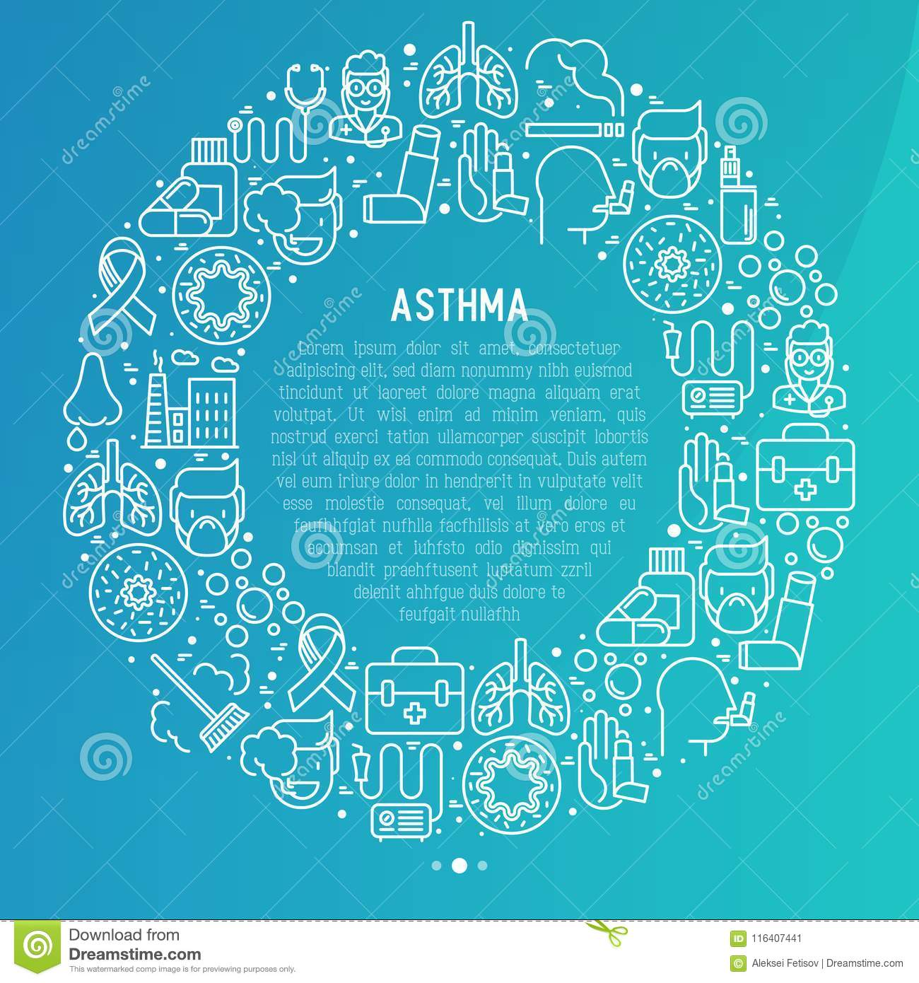World asthma day concept in circle