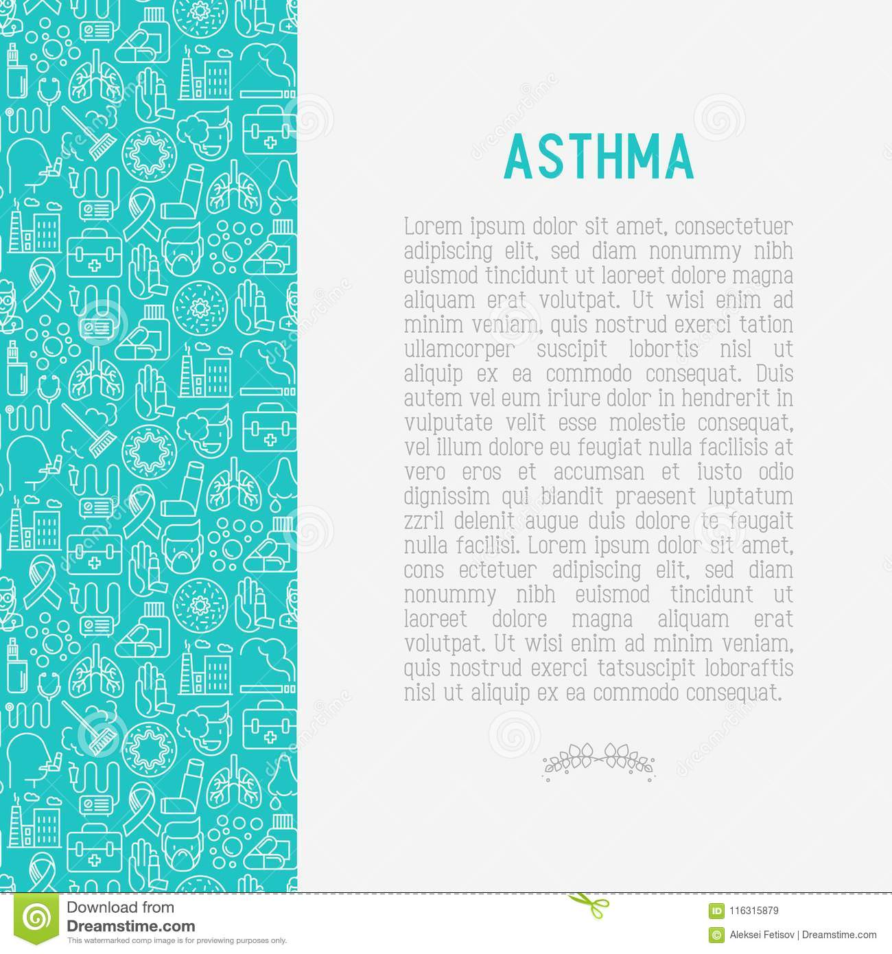 World asthma day concept with thin line icons