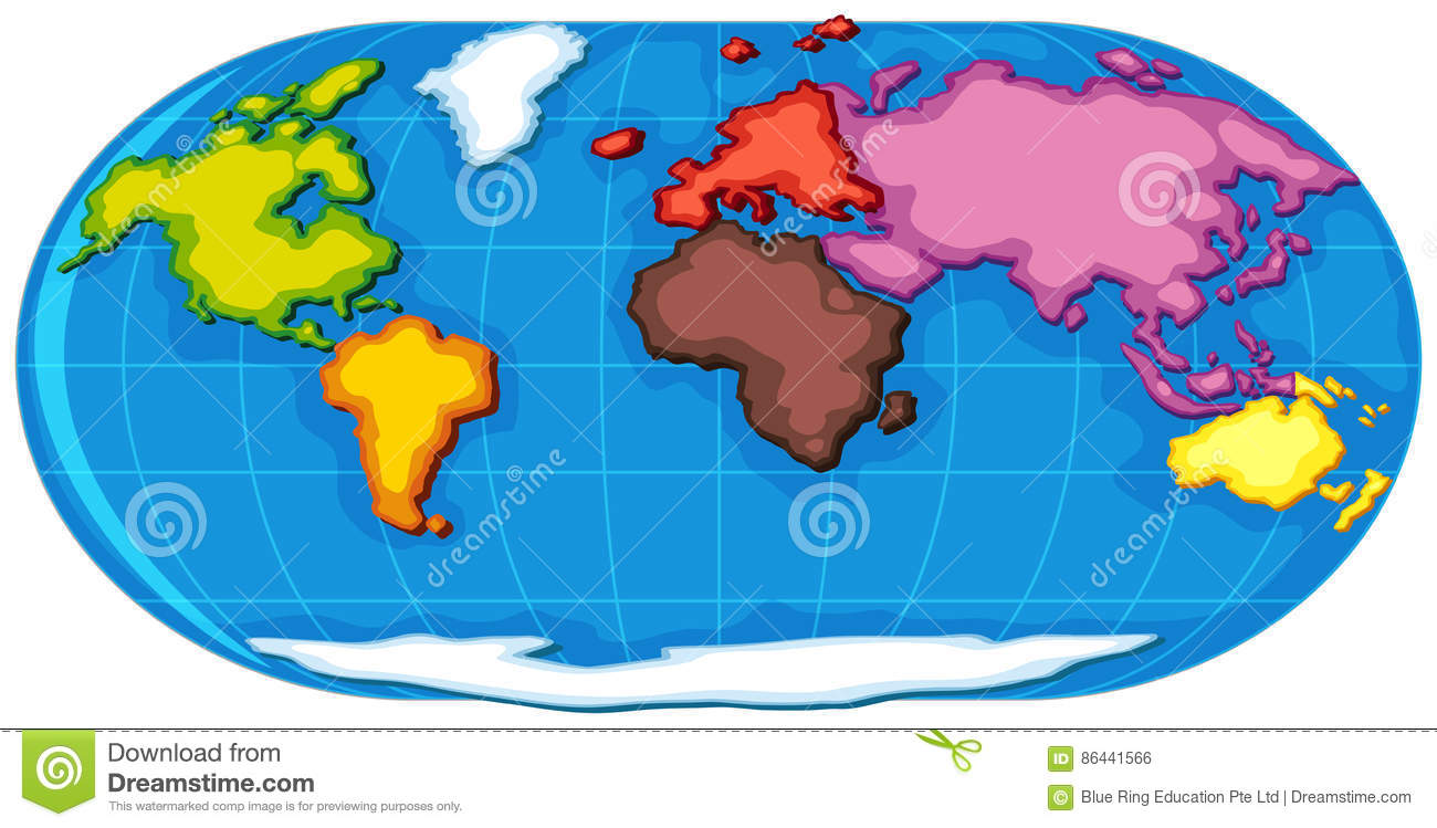 World Atlas With Seven Continents Stock Vector - Illustration of ...