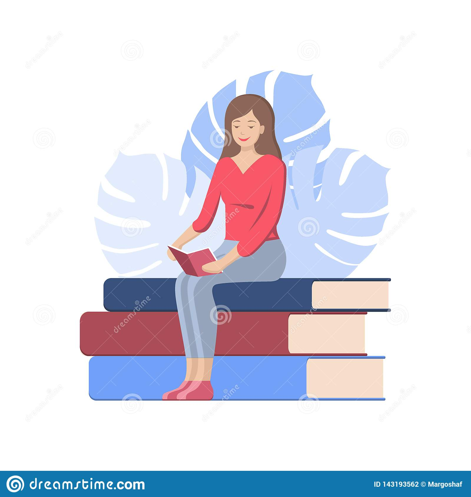 World book day poster. Woman reading a book, icon vector, book lover flat cartoon illustration, library logo