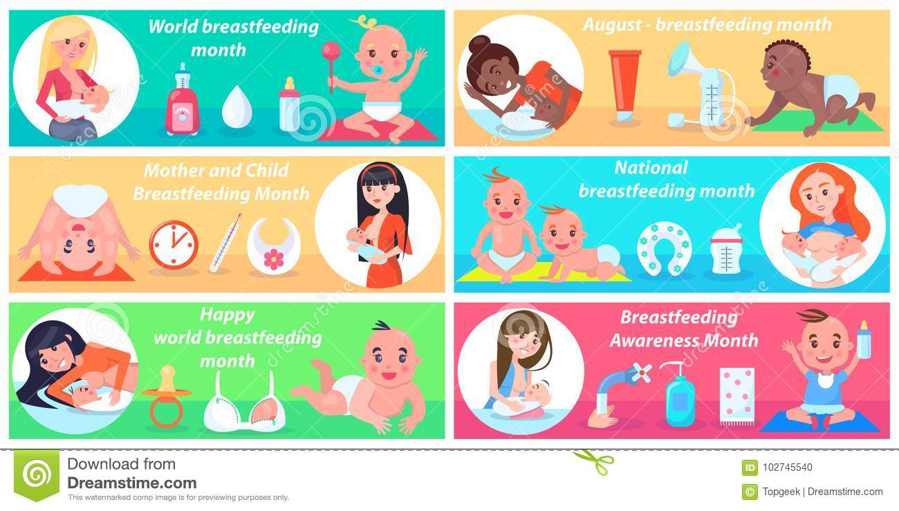 World Breastfeeding Month Promotional Posters Set Stock Vector